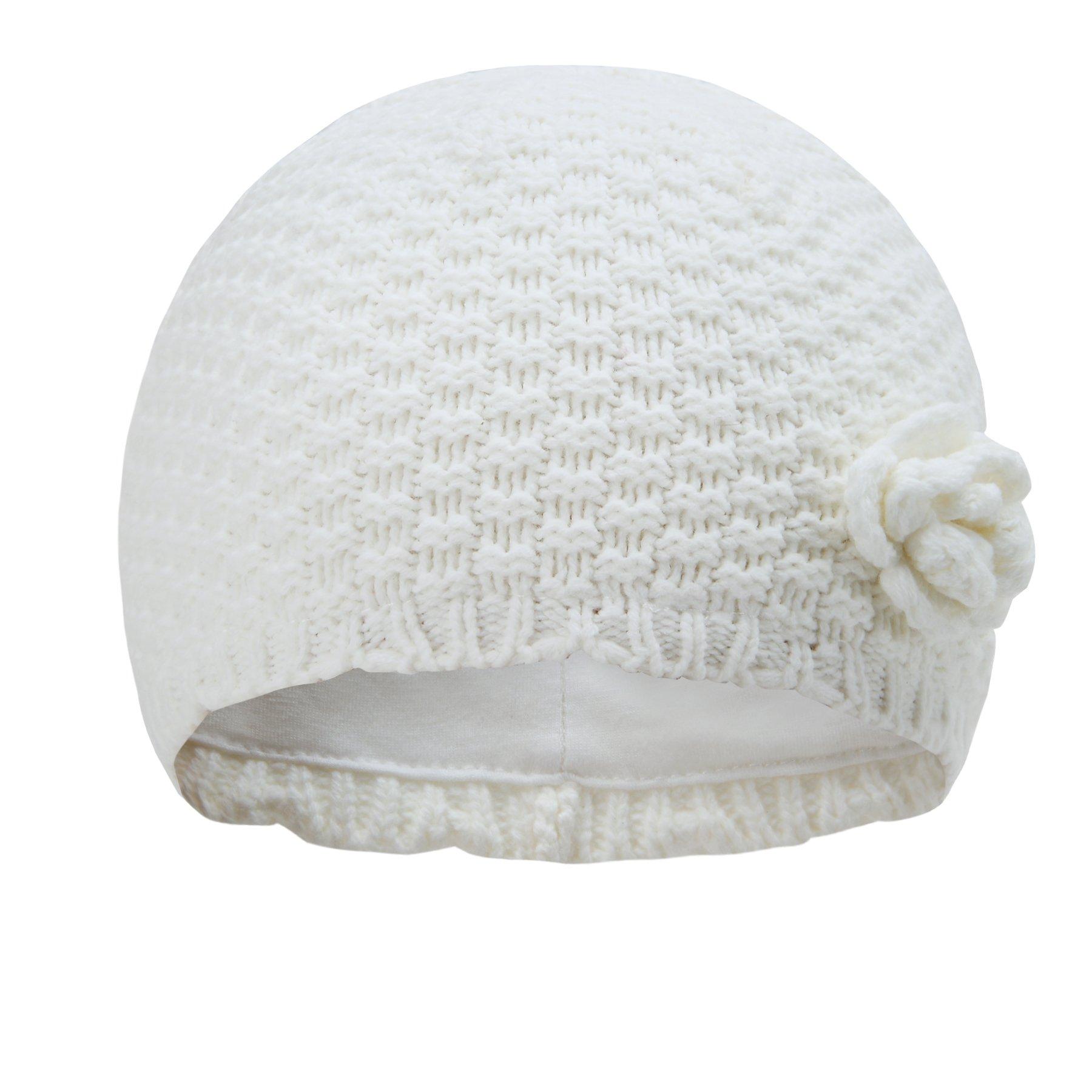 Vivobiniya Baby Girl Winter Knit Cap Little Girl Lovely Flower Hats 1-6T (2m-6m, white1)