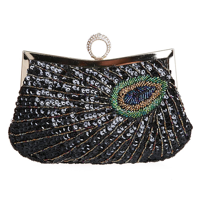 Women Shiny Sequins Peacock Beaded Rhinestone Knuckle Duster Clutch Purse Handbag