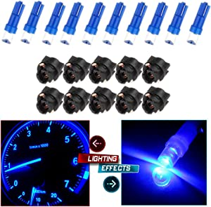 cciyu 10x T5 37 74 Wedge SMD Led Bulbs Instrument Cluster Light Panel Gauge Lamp Red + 10x Twist Sockets 17 37 70 Instrument Panel Cluster Plug Lamp Dash Light Bulb T5 (Concave Blue)