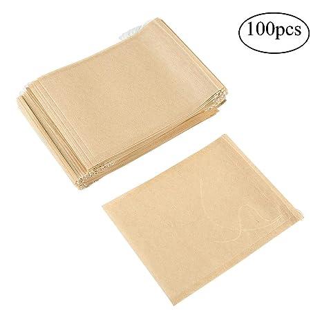 AOLVO desechables con cordón ajustable vacío bolsas de papel filtro de té para hierba y hojas de té looses Pack de 100, Burlywood, l-8.5*11cm