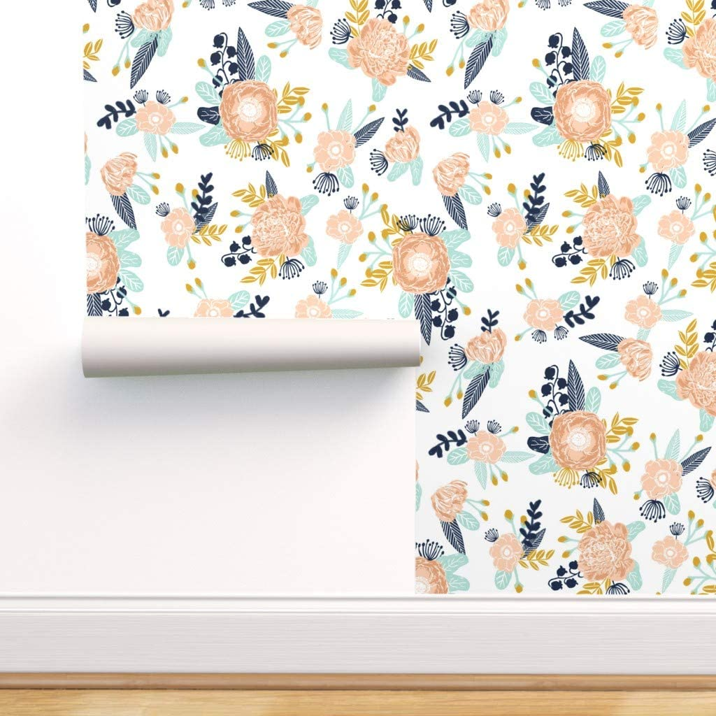 Spoonflower Peel And Stick Removable Wallpaper Peachy Florals