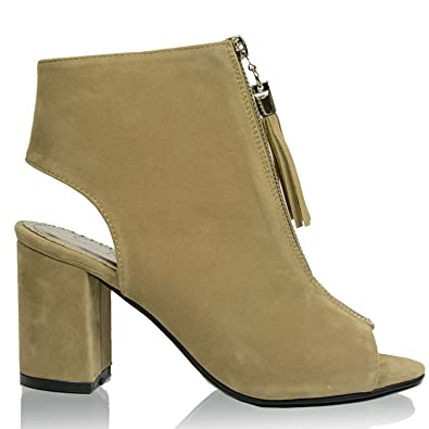 04c5277fac93 New Womens Suede Mid High Block Heel Ankle Boots Girls Ladies Open Back  Chunky Cut Out Peep Toes Front Fringe Zip ...