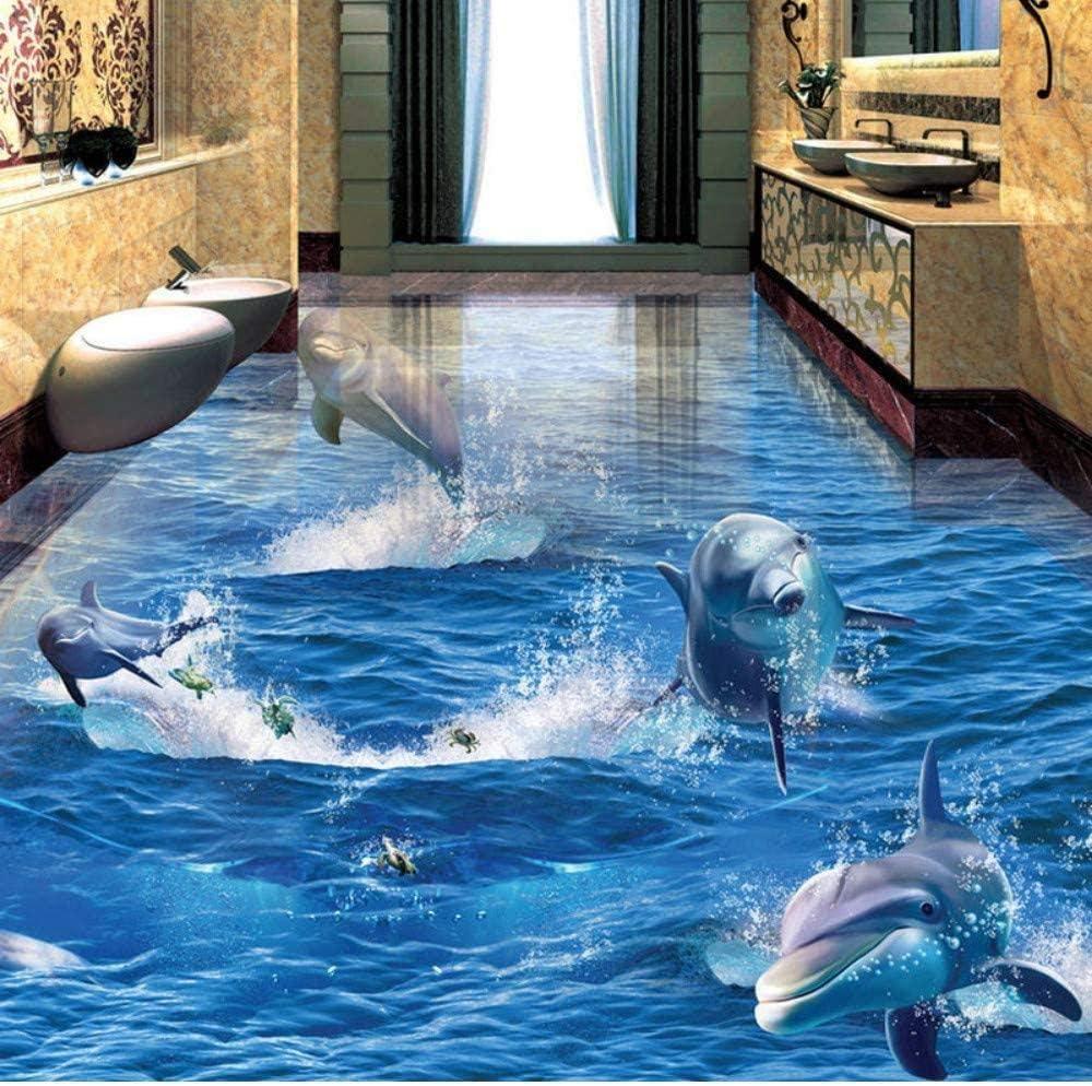 Amazon Bosakp 海水イルカ写真壁紙3d床タイルペイント耐摩耗pvc防水床ステッカー壁画 0x140cm 壁紙
