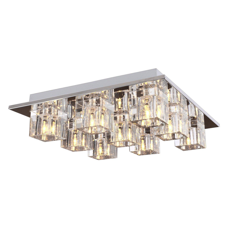 Lightess Chandelier Lighting LED Crystal Ceiling Light Fixtures Modern Flush Mount with 9 Lights in Square Shape