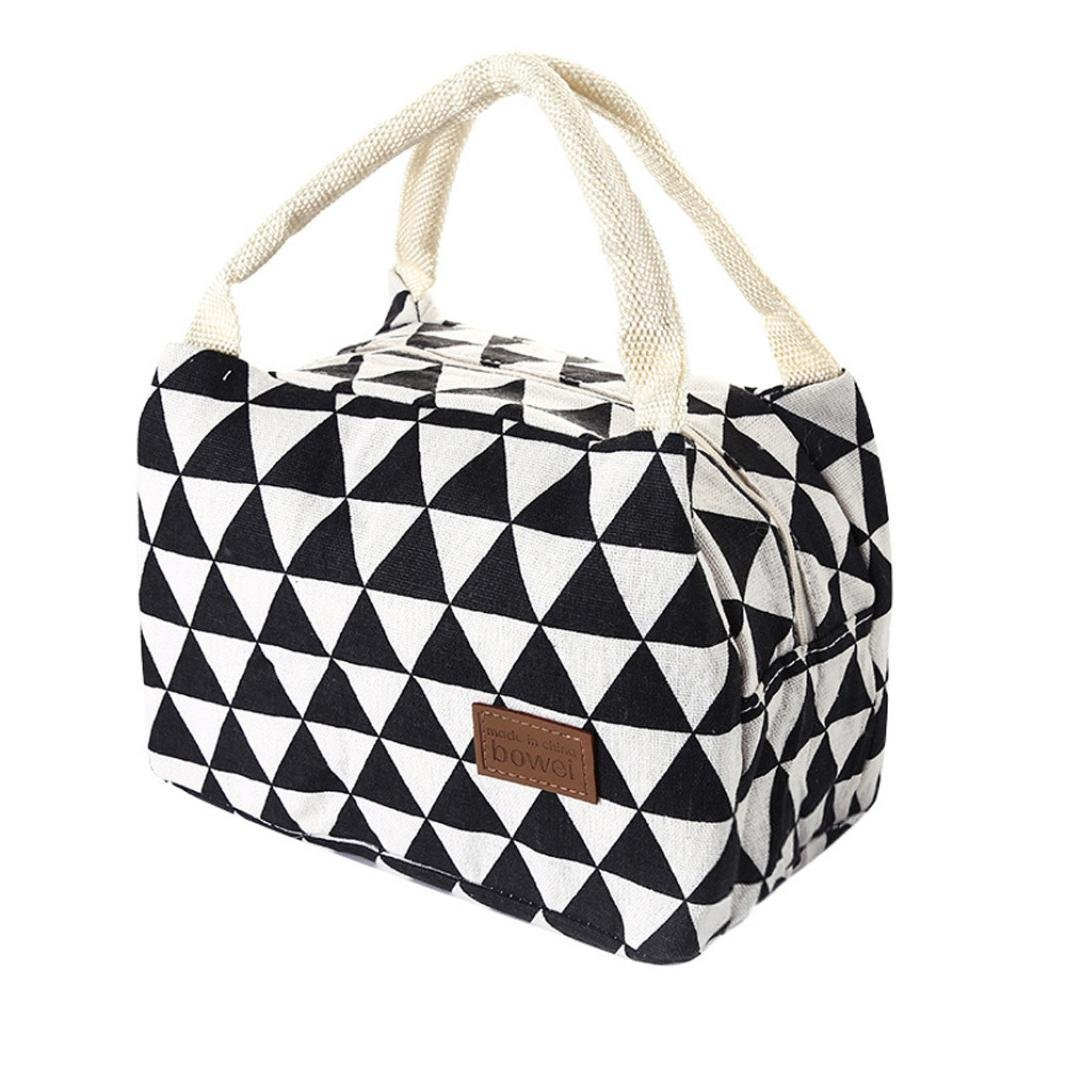 Clearance Deal! Hot Sale!Lunch Bag, Fitfulvan For Women Kids Men Insulated Canvas Box Tote Bag Thermal Cooler Food Lunch Bags (Black)