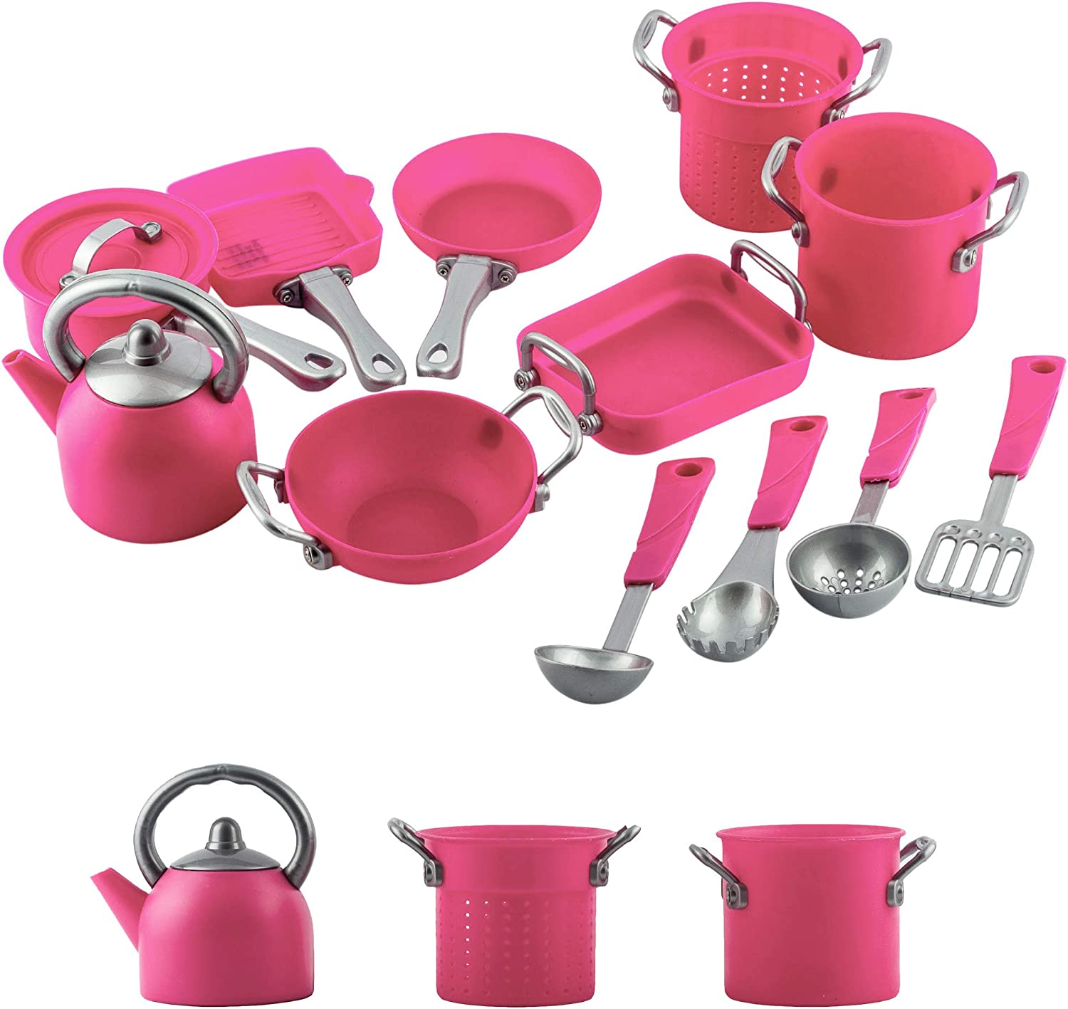 Liberty Imports Deluxe Pink Kitchen Gourmet Cookware Pots and Pans Premium Playset for Girls 13 Pcs
