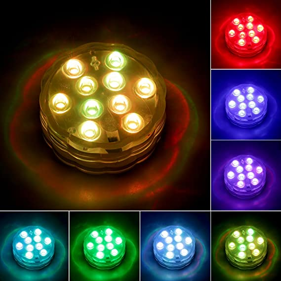 Amazon.com: Zoomarlous RGB 10-LED Submersible Waterproof Birthday Wedding Party Light Remote Control: Home & Kitchen