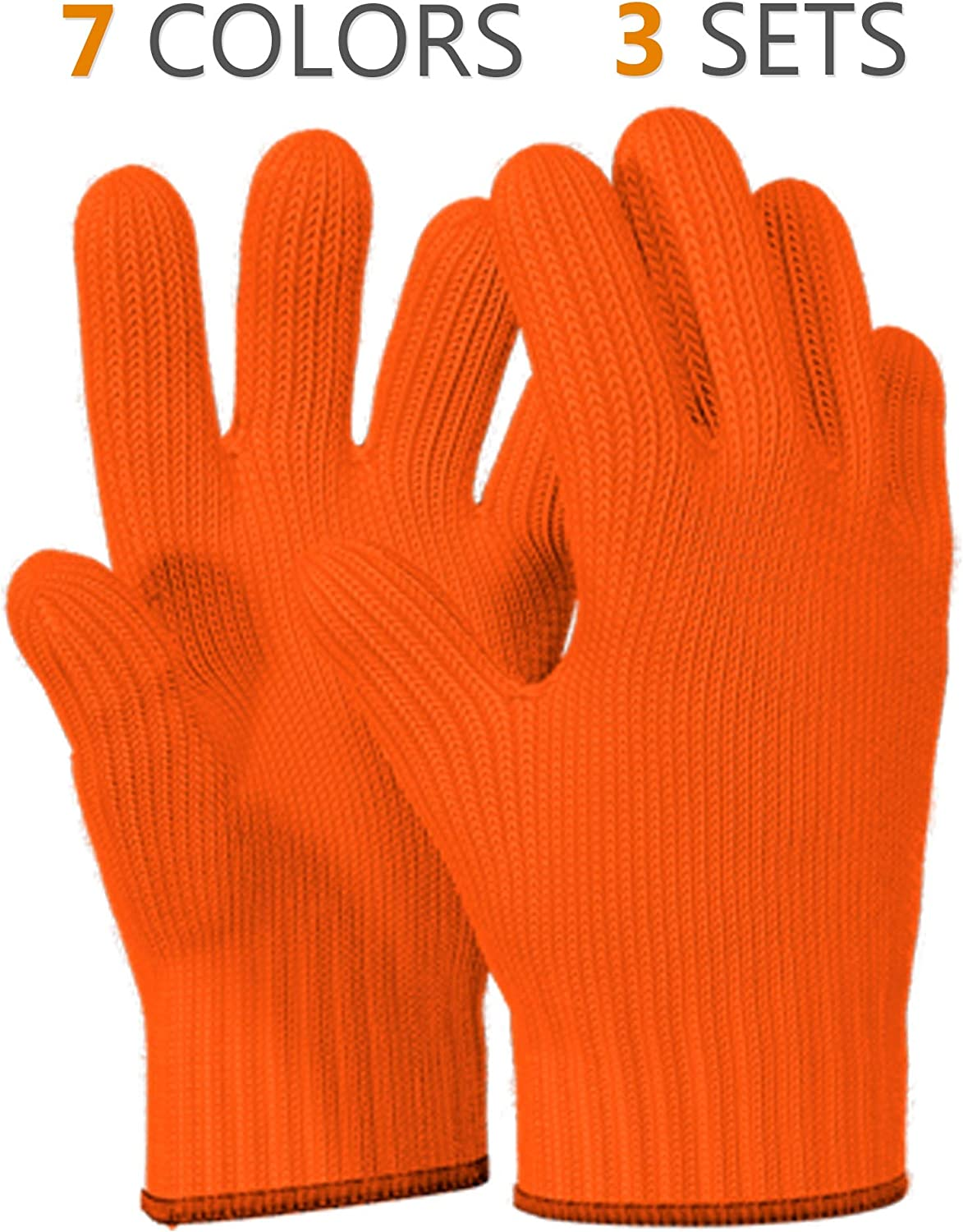 1 PAIR Heat Resistant Gloves Oven Gloves Heat Resistant With Fingers Oven Mitts Kitchen Pot Holders Cotton Gloves Kitchen Gloves Double Oven Mitt Set Oven Gloves With Fingers (Orange, 2 pcs)