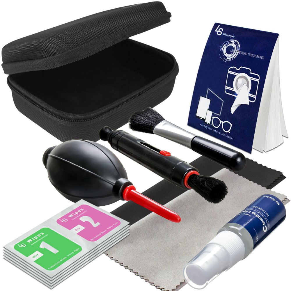 LS Photography Camera Lens Filter Cleaning Bundle Kit, Hard Shell Carry Case, Cleaning Pen Brush, Air Blower, Liquid Cleaning Agent Fluid, Cleaning Cloth, Wet/Dry Wipe Tissue, Photo Studio, LGG527 by LS Photography
