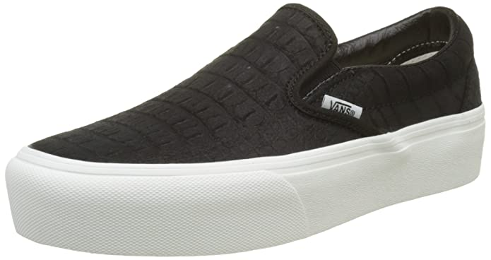 Amazon.com | Vans Classic Slip-On Platform Leather, Womens Trainers, Multicolour (Embossed/Black/Blanc De Blanc), 5.5 (38.5 EU) | Loafers & Slip-Ons
