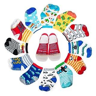 Yimaler 12-Pack Anti-Slip Cotton Baby Socks Cute Animal Printed Ankle Socks with Grip for 12-36 Months Kids Soft Cartoon Socks for Toddler Boys & Girls …