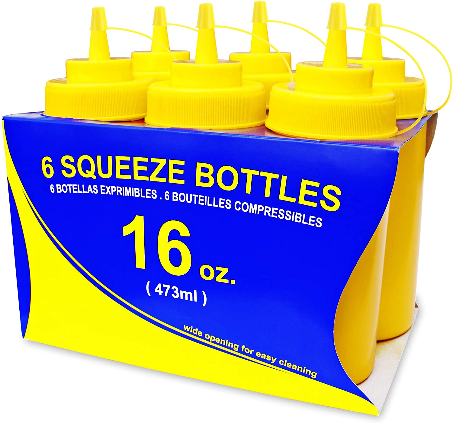 New Star Foodservice 26528 Plastic Squeeze Bottles with Cap and Scale, Wide Mouth, 16 oz, Yellow, Pack of 6