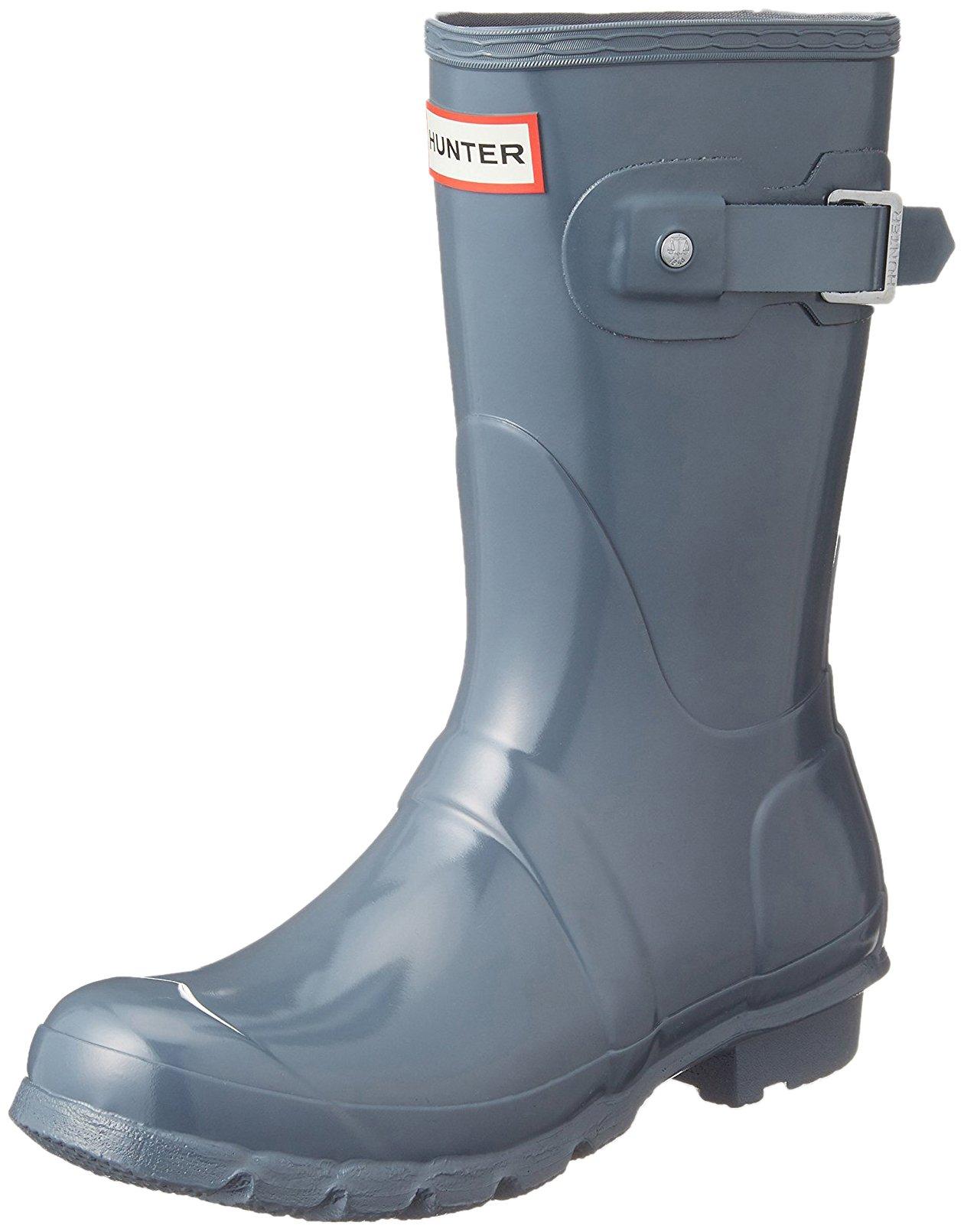 Hunter Women's Original Short Gloss Rain Boots, Graphite Gloss, 9 B(M) US
