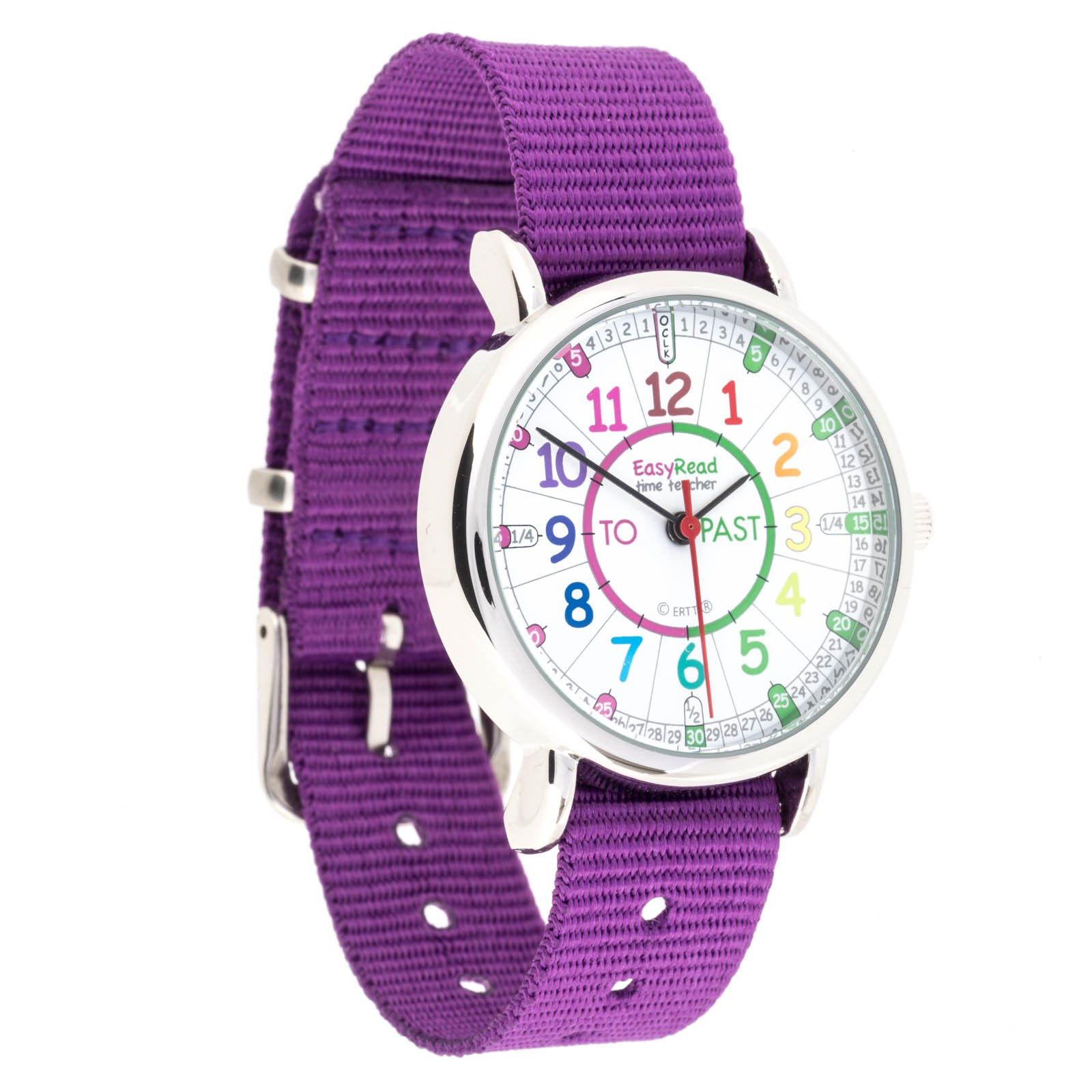 EasyRead Time Teacher Children's Watch, 'Minutes Past' and 'Minutes to', Rainbow Colors/Purple Strap