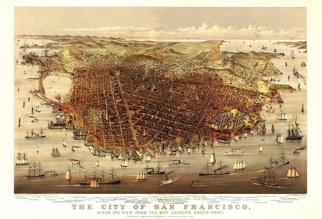 Reproduction Birds Eye View Map of The City of San Francisco 1878, by Currier & Ives 48 x 33 cm by OFA Mapping