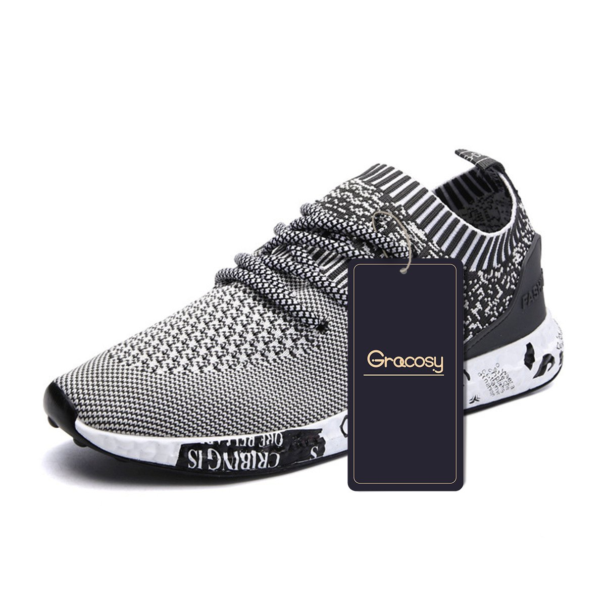 gracosy Casual Sport Shoes, Men's Lightweight Daily Walking Shoes Athletic Sports Shoes Breathable Fashion Sneakers Grey 41 EU