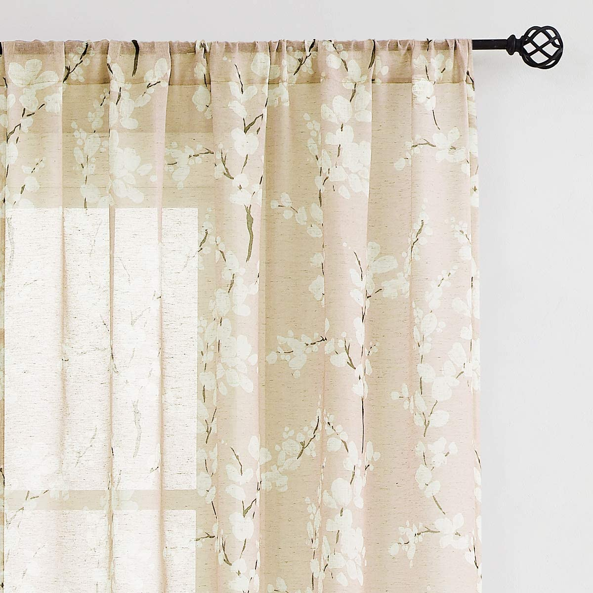 Amazon Com Fmfunctex Beige Blossom Flax Linen Sheer Curtains 84inches Long For Living Room Light Filtering Floral Print Window Drapes 2 Pack Rod Pocket 7ft Home Kitchen