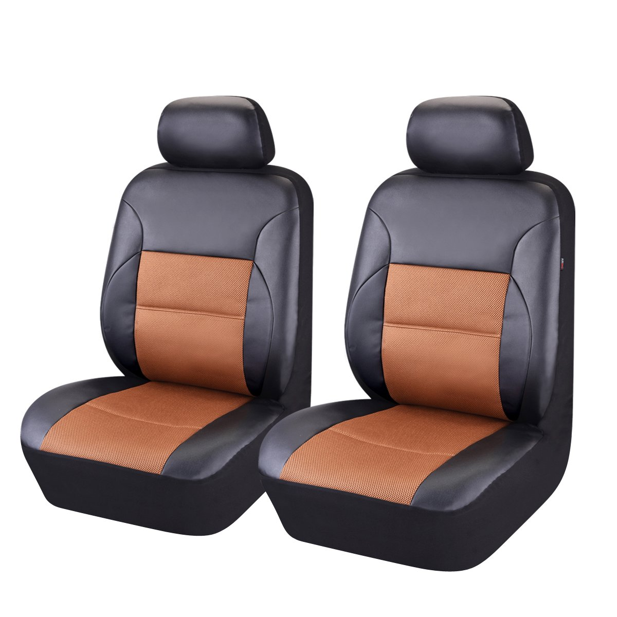 CAR PASS Black with Balck 6PCS Luxurous Leather Universal Two Front car seat Covers Set