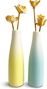 SoNa Home Blue & Yellow Small Vase Set, 6 Inch Tall Ceramic Vases For Home Decor, Good For Bookshelf Decor OR Coffee Table Decorations For Living Room, Use These Vases To Create Endearing Decorations