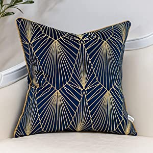 Yangest Navy Blue and Gold Gradient Velvet Throw Pillow Cover Geometric Lines Cushion Case Modern Luxury Embroidery Pillowcase for Sofa Couch Bedroom Living Room Home Decor,18x18 Inch