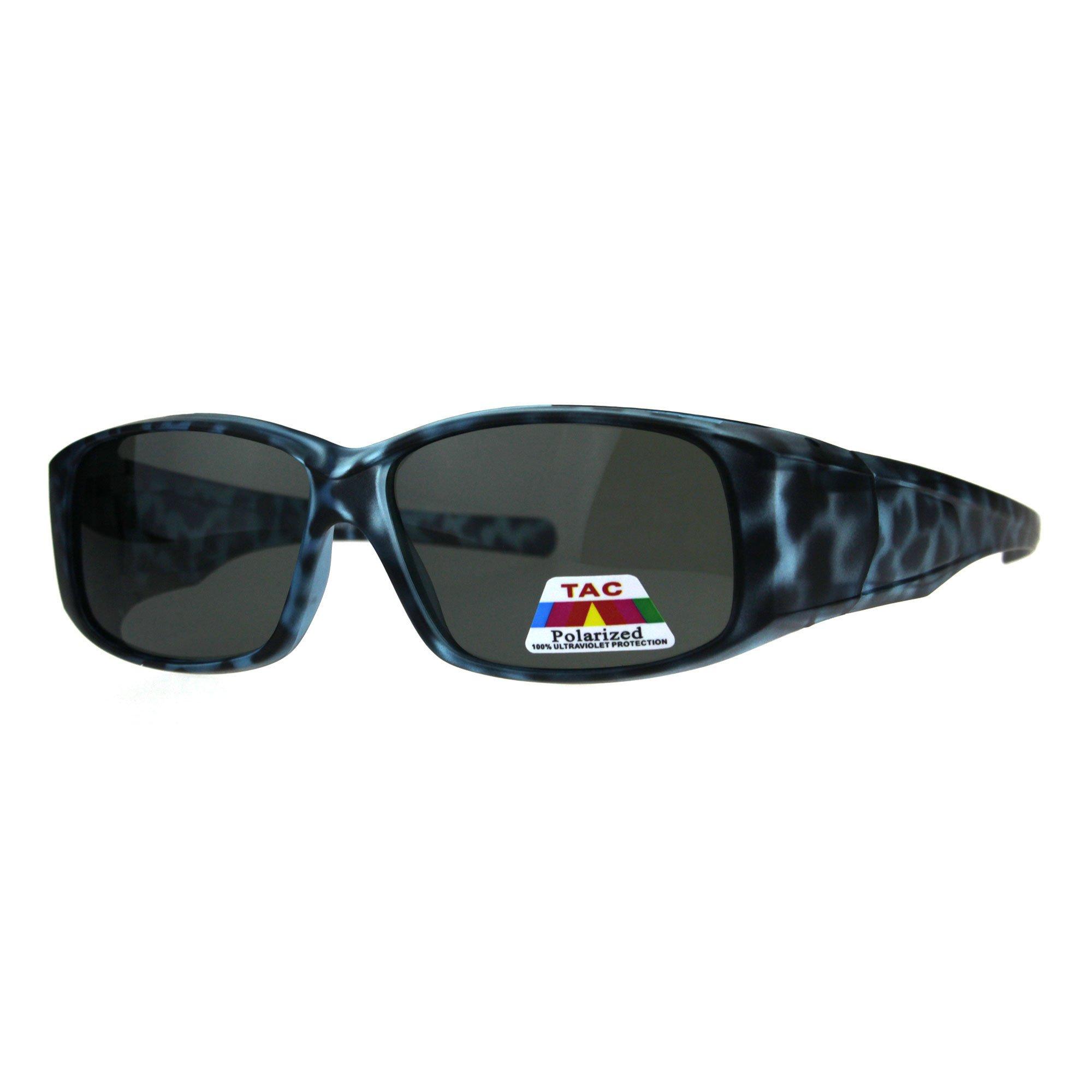 Womens Polarized Matte Tortoise 56mm Fit Over Rectangular Sunglasses Blue