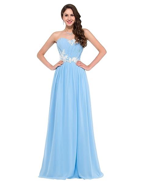 GK Evening Dress Vestido - sujetador bandeau - Sin mangas - para mujer Azul azul celeste