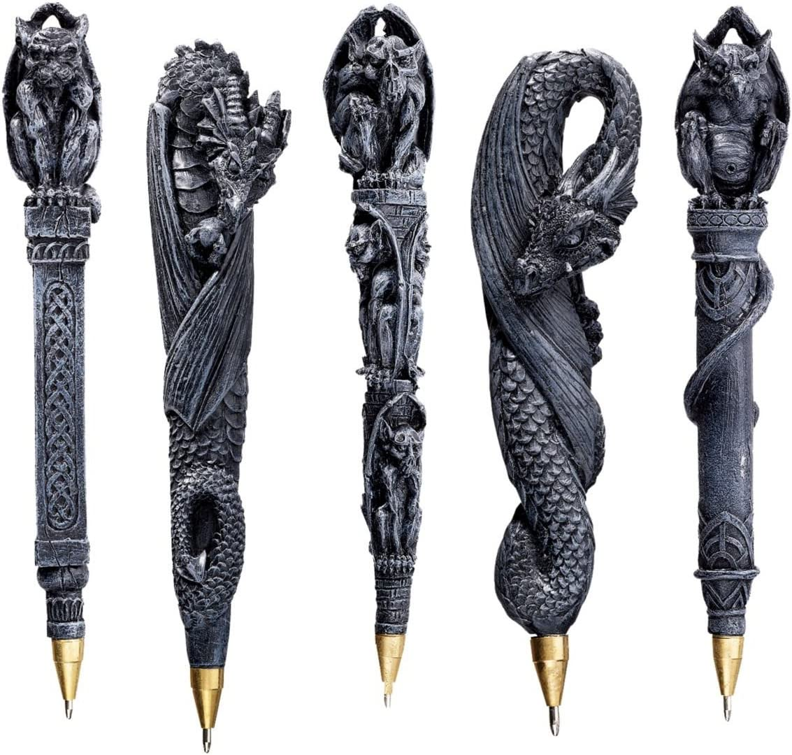 Design Toscano CL993074 Gargoyles and Dragons Gothic Decor Sculptural Ball Point Pens, 6 Inch, Set of Five, Greystone