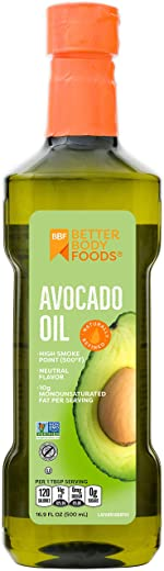BetterBody Foods Avocado Oil, Refined Non-GMO Cooking Oil for Paleo and