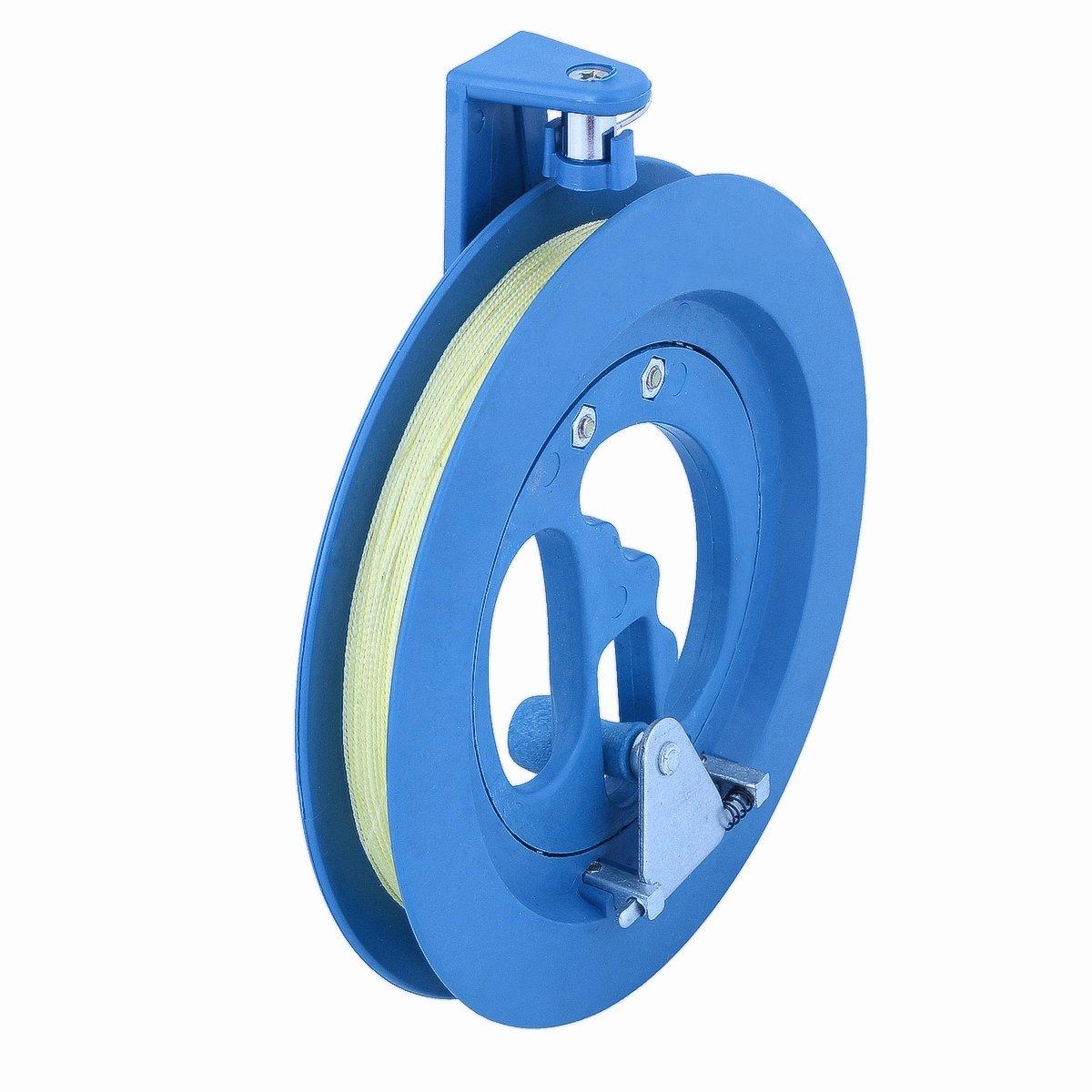 Vicloon Outdoor Rond en Plastique ABS 15cm Cerf-Volant Bobine Winder Enrouleur avec Connecteur 100m de Ligne pour Enfants(Bleu)