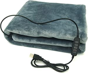 """sole-go USB Electric Heating Shawl Electric Flannel Blankets Heated Throws 5V/2A - 3 Heating Settings for Car Office Home 35"""" x 23"""" (Grey)"""