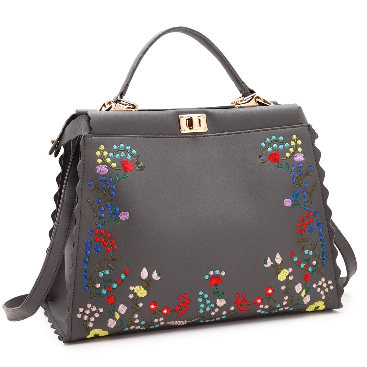 22d759b851 Amazon.com  Dasein Womens Flower Embroidery Handbag Designer Floral Print  Shoulder Bag Satchel Purse  Shoes