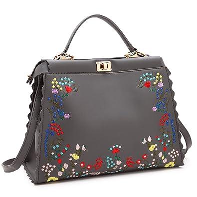 db7bedf859 Amazon.com  Dasein Womens Flower Embroidery Handbag Designer Floral Print Shoulder  Bag Satchel Purse  Shoes