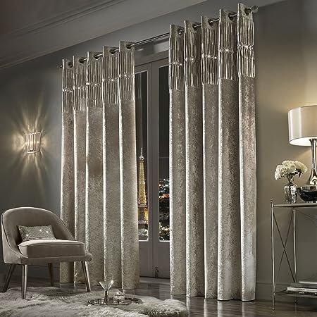 Crushed Velvet Curtains Designer Luxury Glittery Eyelet Top Fully