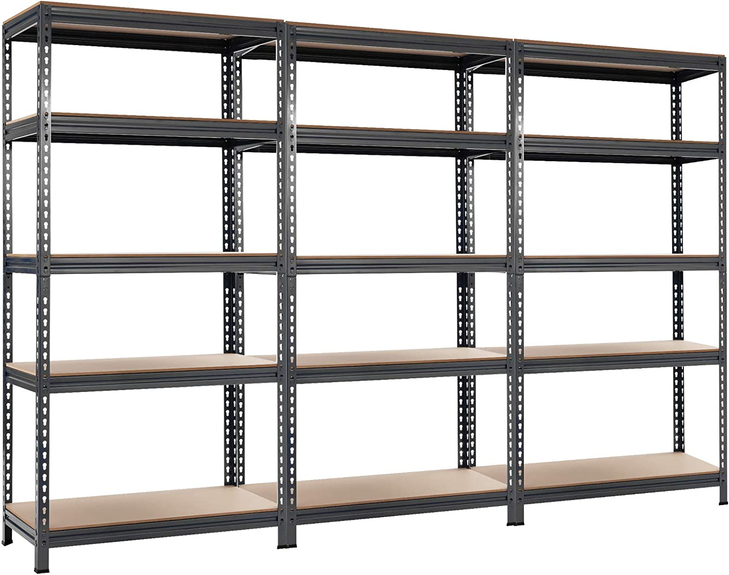 """Tangkula 5-Tier Steel Storage Shelves, 73"""" Heavy Duty Garage Shelf with Adjustable Shelves, Boltless Shelving Unit for Free Combination, Metal Muscle Rack for Home Office Garage (3, Grey)"""