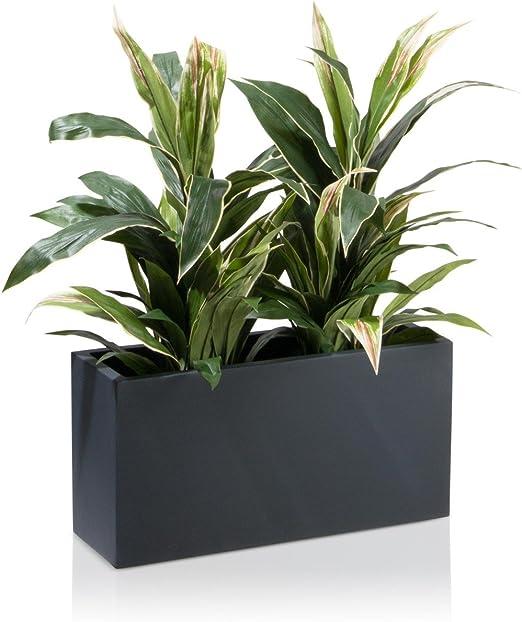 Maceta, jardinera de fibra de vidrio VISIO – color: gris ...