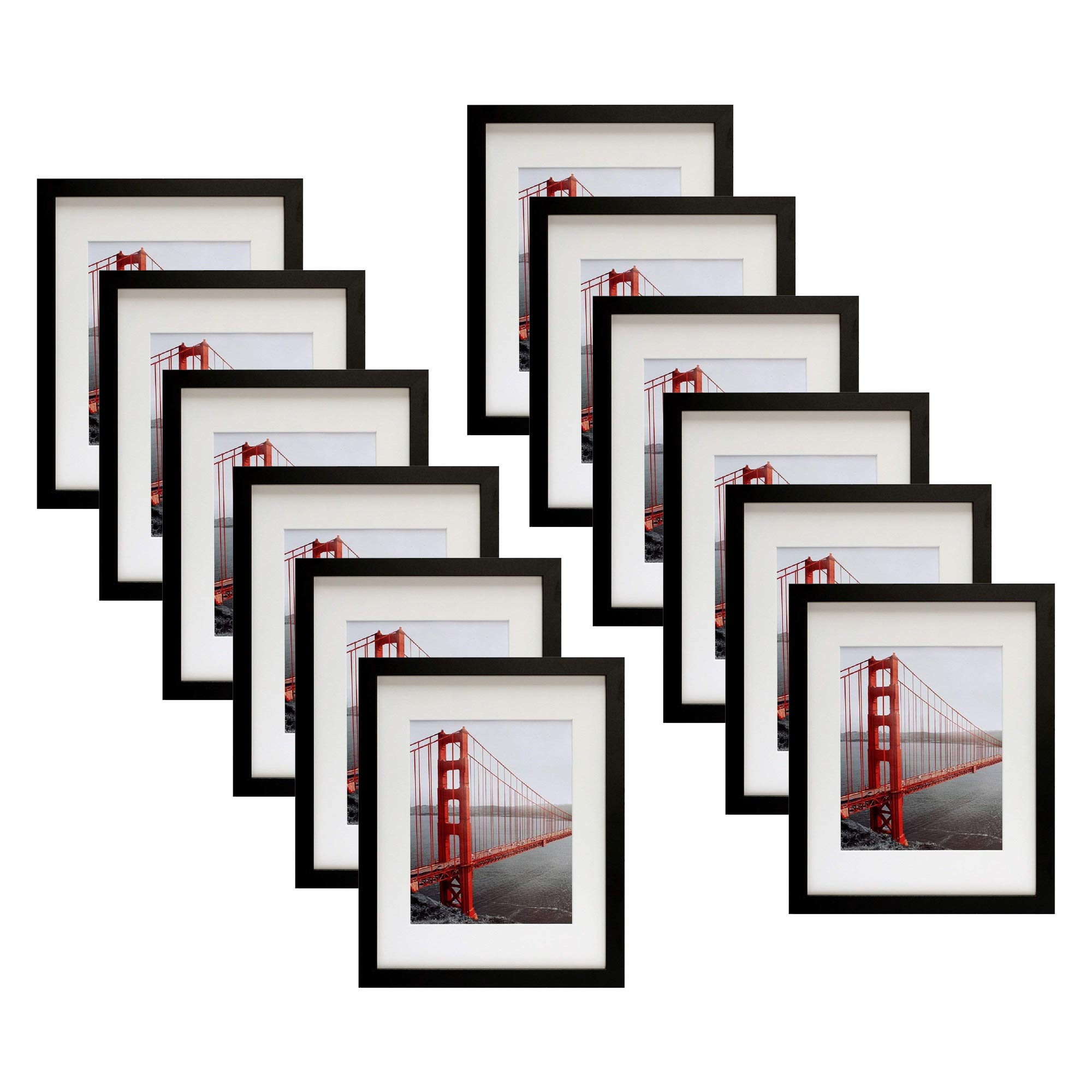 Frametory, Twelve 11x14 Contemporary Black Picture Frame - Wide Molding - Wall Mounting Ready (12pc, 11x14) by Frametory