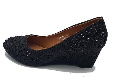 super popolare 5d37a 5e310 zeppe eleganti ballerine alte strass nero black invernali ...
