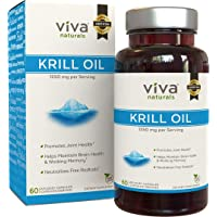 Viva Naturals Premium Antarctic Krill Oil – Omega 3 Supplement with EPA, DHA and Astaxanthin, 1250 mg/Serving, 60 Capsules