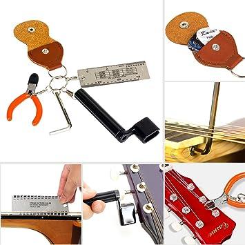 Kmise guitarra cadena Kit de herramienta Set cadena Winder acción regla cortador Pick caso hexagonal llave para principiantes y partes de guitarra Luthier 5 ...