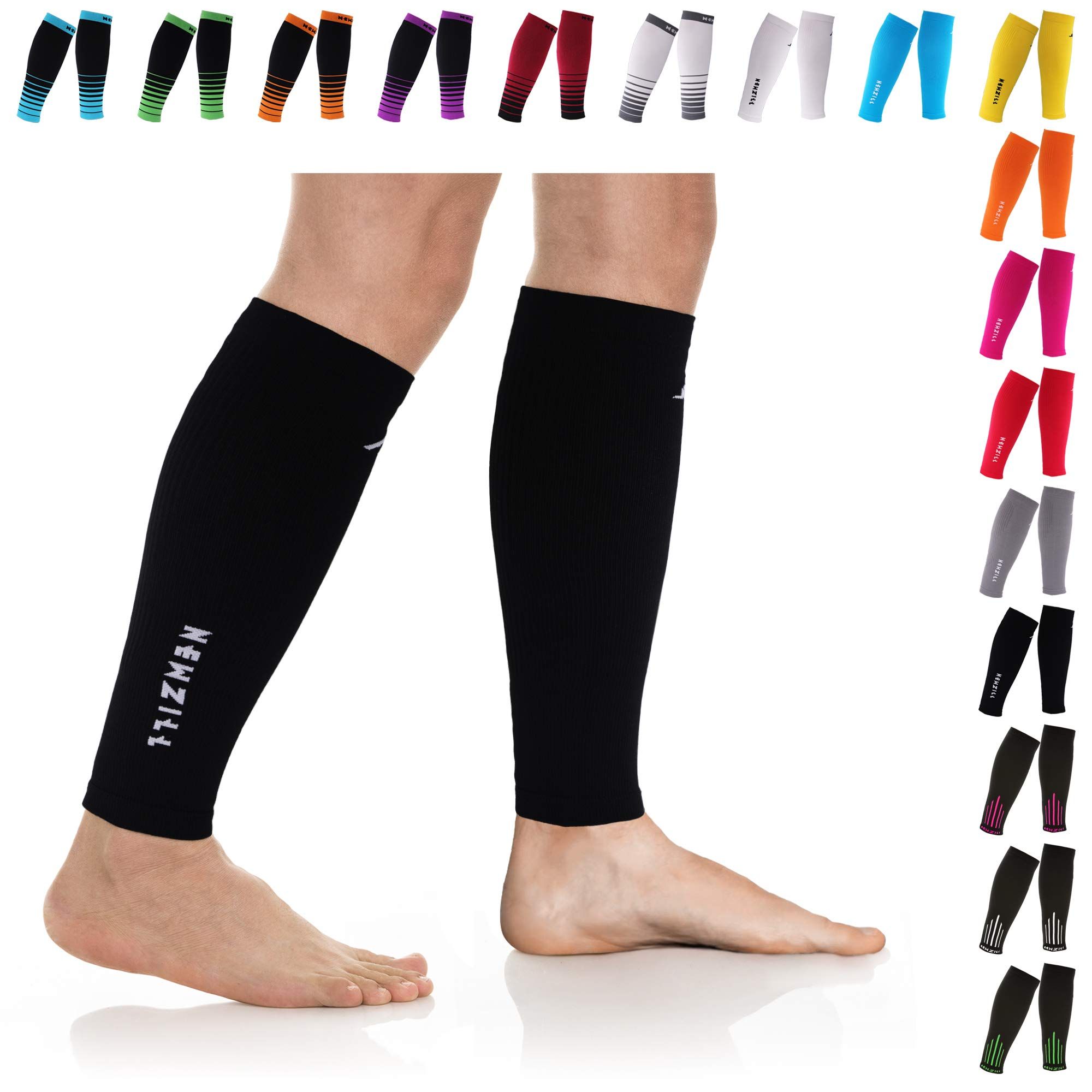 NEWZILL Compression Calf Sleeves (20-30mmHg) for Men & Women - Perfect Option to Our Compression Socks - for Running, Shin Splint, Medical, Travel, Nursing, Cycling (L/XL, Solid Black) by NEWZILL