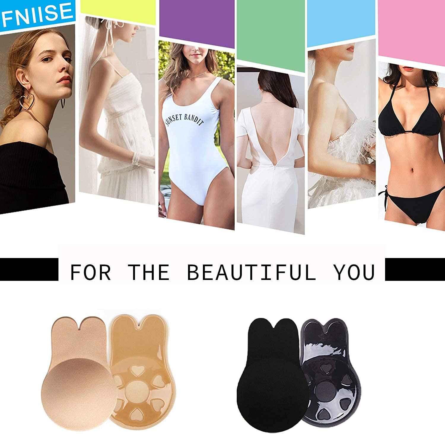 2 Pairs Women Invisible Bra Push up Nipple Covers Backless Sticky Bra Breast Lift Tape Strapless Adhesive Bra