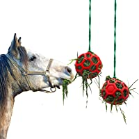2 Pack Horse Treat Ball Hay Feeder Toy, Goat Feeder Ball Hanging Feeding Toy for Horse Goat Sheep Relieve Stress