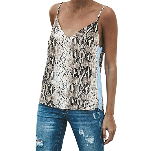 c891a4470aa4d Amazon.com  Corriee Womens Summer Sexy V-Neck Backless Snake Print Camisole Stylish  Sleeveless Camis Tank Top Blouse  Clothing