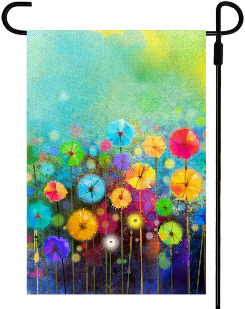 Yileqi Watercolor Abstract Floral Flower Garden Flag Double Sided Painting on Soft Color Flowers Flag, Burlap Small Yard Flag Spring Summer Outdoor Decoration 12.5 x 18 inches