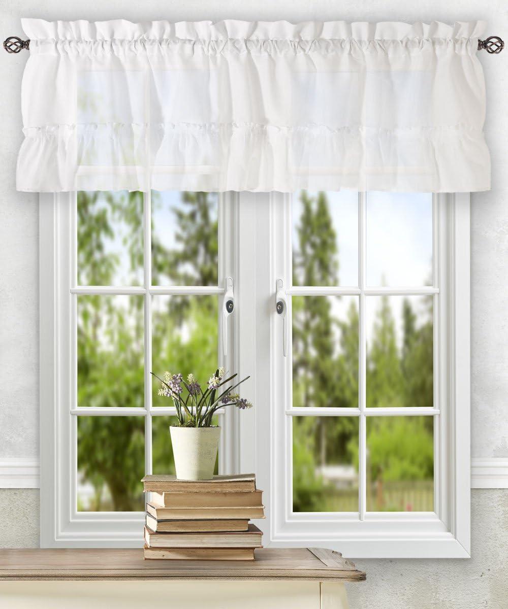 Ellis Curtain Stacey Ruffled Filler Valance 54 X 13 White Home Kitchen Amazon Com