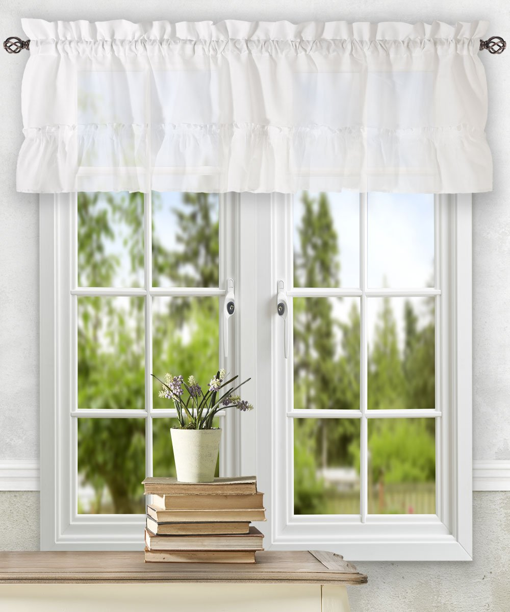 "Ellis Curtain Stacey Ruffled Filler Valance, White, 54"" x 13"""