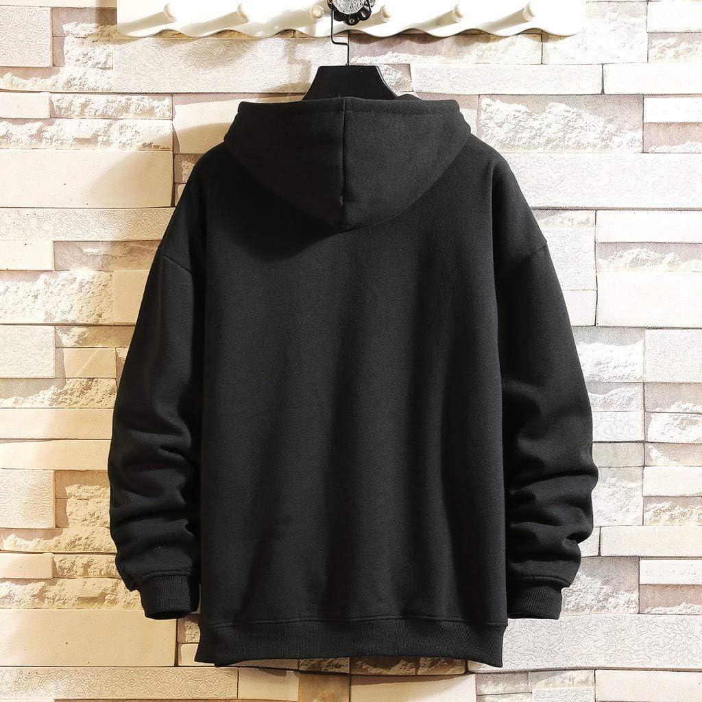 VEFSU Mens Drawstring Hooded Letter Cat Printing Pullover Sport Sweatshirt M-5XL