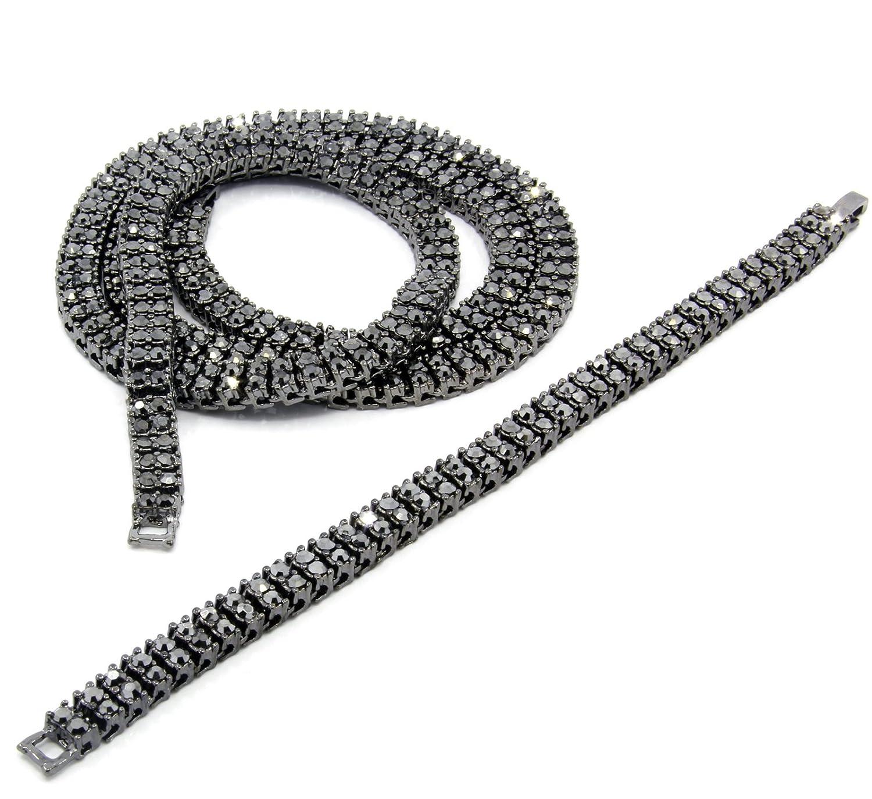 "Men's Gun Hema Tone Iced Out 2 Row Simulated Diamond 30"" Hip-Hop Chain & Bracelet"