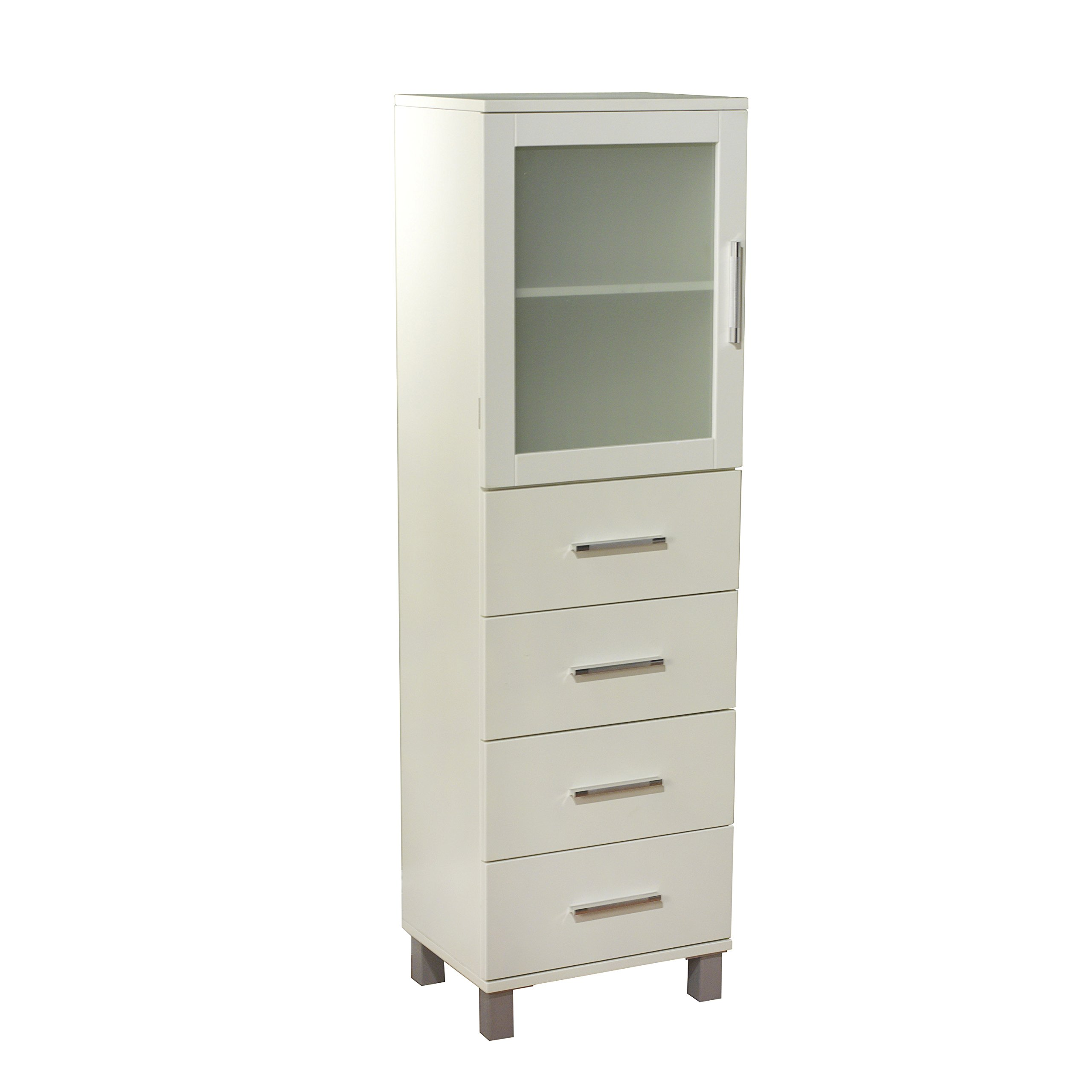 Target Marketing Systems 50027WHT Frosted Pane 4 Drawer Linen Cabinet, Antique White by Target Marketing Systems