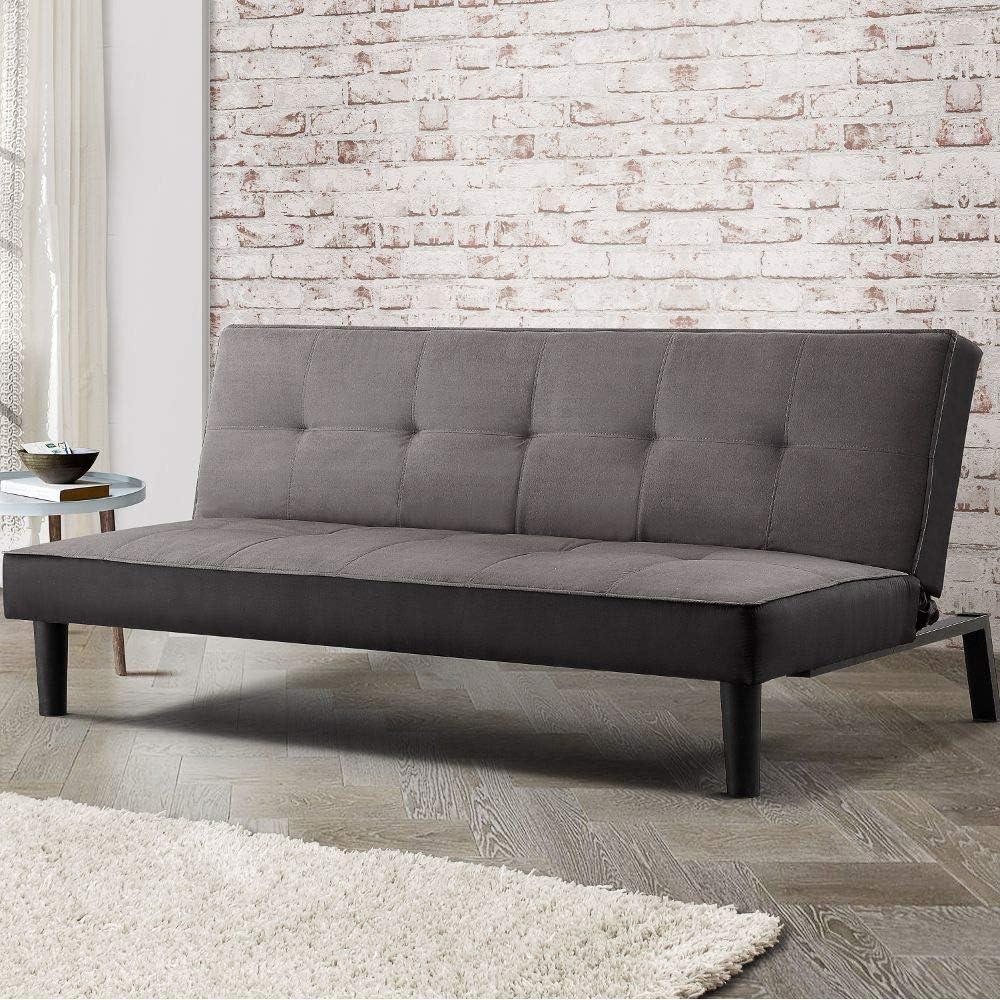 Sofá cama gris Happy Beds Aurora Grey Sofá-cama de terciopelo tapizado moderno - 2 plazas